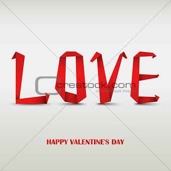 Valentine card with folded red paper love
