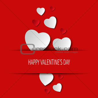 Valentine card with hearts tucked