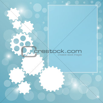 blue background with cogwheel