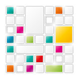 field of gray and color squares