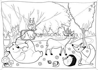 Animals in the wood, black and white.
