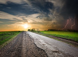 Road and stormy