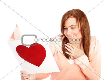 Woman reading love letter