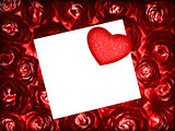 Red roses background with greeting card and heart