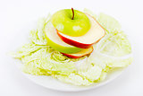 plate with salad and apples