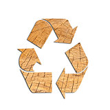 Recycle Logo From wood with Clipping Path