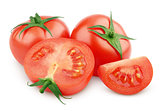 Red tomato vegetable with slices white