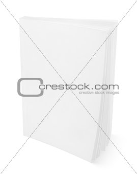 Blank white book on white