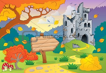 Autumn theme with castle ruins 2