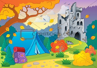 Autumn theme with castle ruins 3