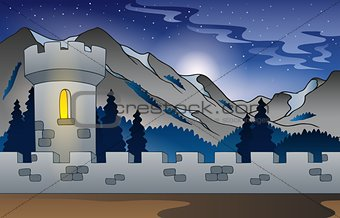 Background castle in mountain 1