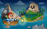 Theme with pirate skull island 2