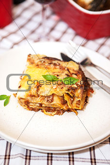 A piece of lasagna bolognese