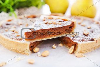 A piece of caramel apple tart