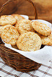 Oatmeal cookies with almond in a basket
