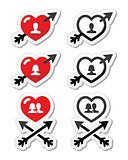Hearts with arrow, love, valentines icons set