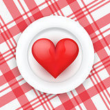 Background white plate with beautiful realistic heart.