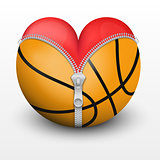 Red heart inside basketball ball.