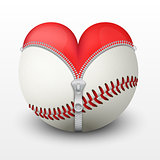 Red heart inside baseball ball.