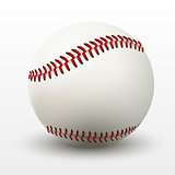 Vector illustration of realistic baseball leather ball with shadow.