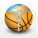 Planet Earth inside basketball ball.