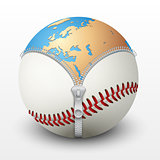 Planet Earth inside baseball ball.