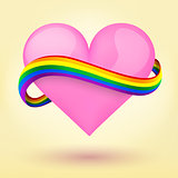 LGBT Background pink heart and rainbow ribbon.