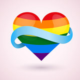 LGBT Background rainbow heart and blue ribbon.