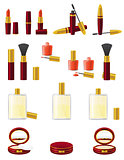 set icons cosmetics vector illustration