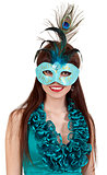 brunette girl in a blue dress and mask
