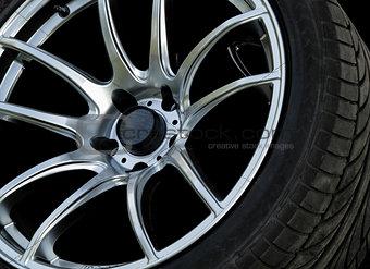 Close up car wheels