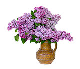 Spring lilac bouquet in clay vase.