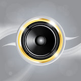 Music speaker of gold color. EPS10