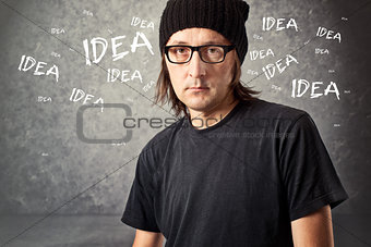 Casual Man with Black Cap with ideas