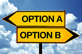 Option A or Option B, opposite signs