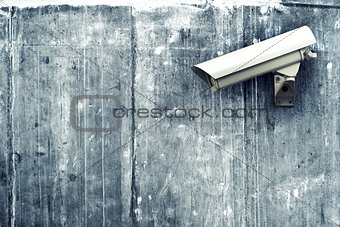 CCTV camera. Security camera on the wall.