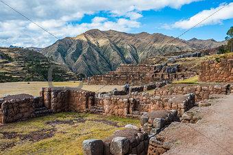 Tourist Chincheros ruins peruvian Andes  Cuzco Peru