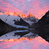 Cerro Torre mountain and lake.