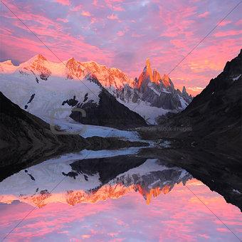Cerro Torre mountain and lake.