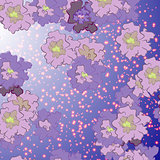 abstract flowers on a background of stars