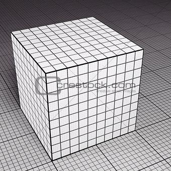 Grid paper cube on grid paper floor