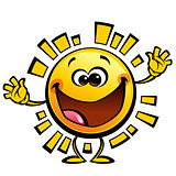 Cartoon yellow sun baby cute smiling character