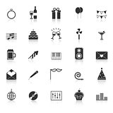 Celebration icons with reflect on white background