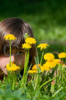 girl with yellow flowers