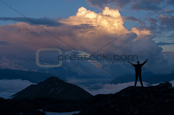 beautiful cloudscape in mountains