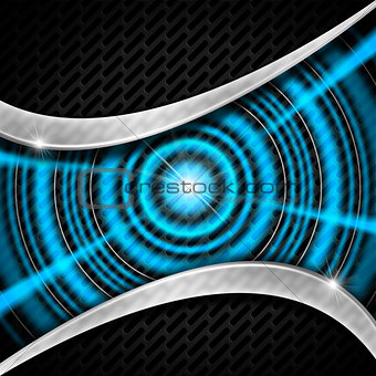Blue and Metal Background with Grid