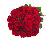 round bouquet of dark  red roses