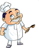 Cute cartoon chef holding a ladle