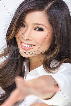 Asian Chinese Woman Girl Reaching to Camera