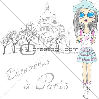 Vector beautiful fashion girl in Paris